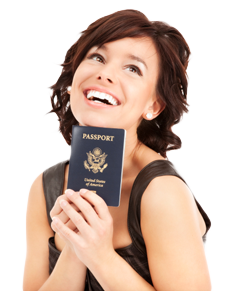Happy woman holding US passport