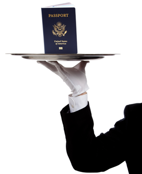 White Gloved hand delivering a passport